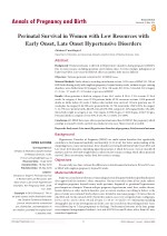 Perinatal Survival in Women with Low Resources with Early Onset, Late Onset Hypertensive Disorders