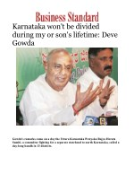 Karnataka won't be divided during my or son's lifetime: Deve Gowda