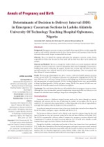 Determinants of Decision to Delivery Interval (DDI) in Emergency Caesarean Sections in Ladoke Akintola University Of Tec