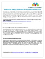 Automotive Bearing Market to Showcase Significant Growth in the Coming Years