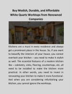 Buy Modish, Durable, and Affordable White Quartz Worktops from Renowned Companies