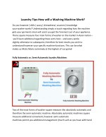 Laundry Tips-How will a Washing Machine Work