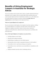 Benefits of Hiring Employment Lawyers in Australia for Strategic Advice