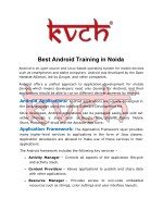 Best Android application Course | Android Training Course in Noida- KVCH
