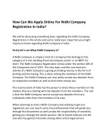 How Can We Apply Online For Nidhi Company Registration In India?