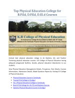 Top Physical Education College for B.P.Ed, D.P.Ed, D.EI.Ed Courses