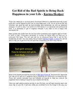 Get Rid of the Bad Spirits to Bring Back Happiness in your Life - Karma Healper