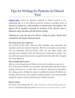 Tips for Writing for Patients in Clinical Trial
