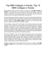 Top MBA Colleges in Kerala, Top 10 MBA Colleges in Kerala