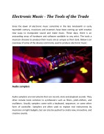 Electronic Music - The Tools of the Trade