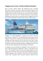 Singapore Star Cruise: A Perfect Holiday Destination
