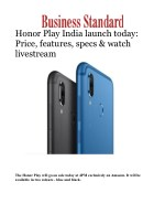 Honor Play India launch today: Price, features, specs & watch livestream