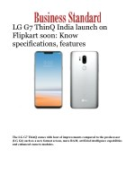 LG G7 ThinQ India launch on Flipkart soon: Know specifications, features