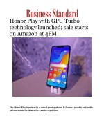 Honor Play with GPU Turbo technology launched; sale starts on Amazon at 4PM