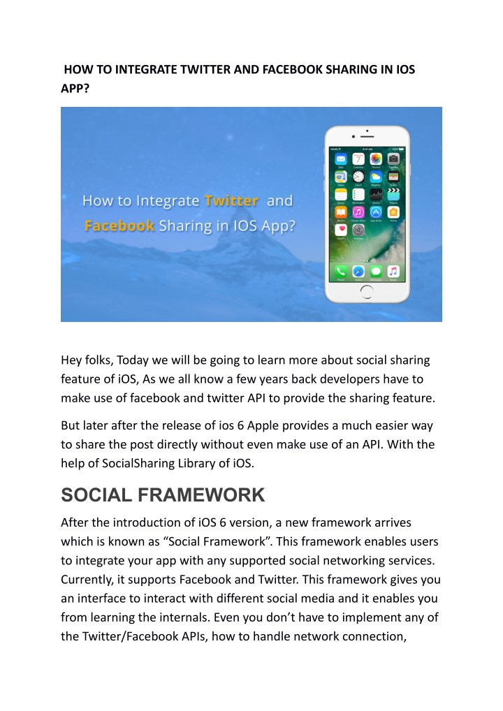how to integrate twitter and facebook sharing n.