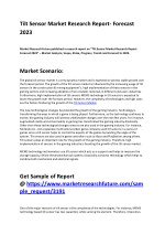 Tilt Sensor Market 2018 : Top Manufactures, Industry Set For Rapid Growth and Trend by 2023