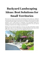 Backyard Landscaping Ideas: Best Solutions for Small Territories