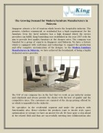 The Growing Demand for Modern Furniture Manufacturers in Malaysia