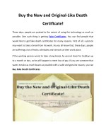 Buy the New and Original-Like Death Certificate!