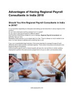 Advantages of Having Regional Payroll Consultants in India 2018