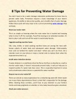 8 Tips for Preventing Water Damage