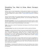 Everything You Want to Know About Conveyor Systems