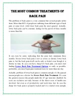 The Most Common Treatments of Back Pain