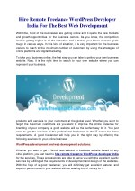 Hire Remote Freelance Wordpress Developer India For The Best Web Development