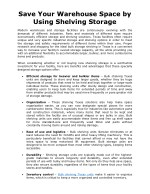 Save Your Warehouse Space by Using Shelving Storage