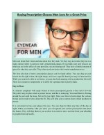Buying Prescription Glasses Men Love for a Great Price