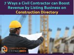 7 Ways Construction Directory Can Help Civil Contractors to Boost Revenue
