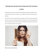 Stimulate Hair Growth with The Best Hair Fall Treatment in Delhi