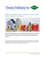 Double Coated Adhesive Tapes: Guidelines to choose the best Double Coated Tapes for Business