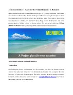 Menorca Holidays – Explore the things to do on Balearics Islands