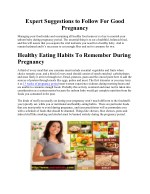 Expert Suggestions to Follow For Good Pregnancy