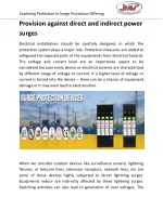 Provision against direct and indirect power surges