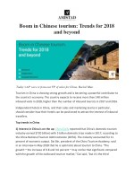 Boom in Chinese tourism: Trends for 2018 and beyond