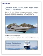 Diversified Marine Services At The Same Online Platform For Convenience