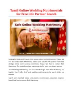 Tamil Online Wedding Matrimonials for Free Life Partner Search
