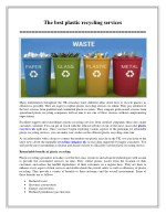The best plastic recycling services