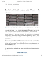 Complete Price List and How to check quality of Cement