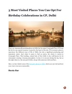 3 Most Visited Places You Can Opt For Birthday Celebrations in CP, Delhi