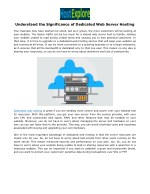 Understand the Significance of Dedicated Web Server Hosting