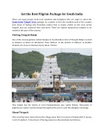 Get the Best Pilgrim Package for South India