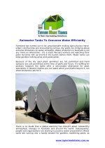Rainwater Tanks To Converse Water Efficiently
