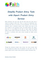 Simplify Product Entry Tasks with Expert Product Entry Services