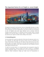 The important factors for air freight vs. ocean freight