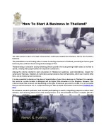 How To Start A Business In Thailand?