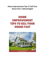 Home Improvement Tips To Sell Your House Fast | AdvantageU