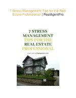 7 Stress Management Tips for the Real Estate Professional!   Real Agent Pro
